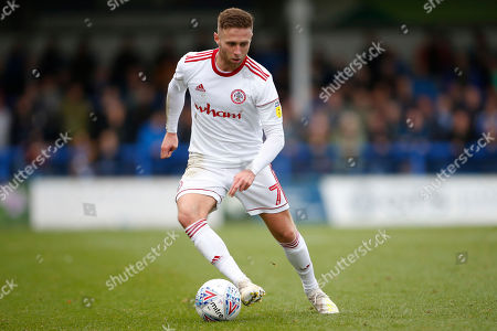 Jordan Clark of Accrington   during the EFL Sky Bet Championship match between Huddersfield Town and Hull City at the John Smiths Stadium, Huddersfield