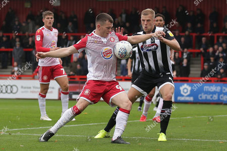 Jason Cowley of Stevenage and Harry Davis of Grimsby Town during Stevenage vs Grimsby Town, Sky Bet EFL League 2 Football at the Lamex Stadium on 12th October 2019