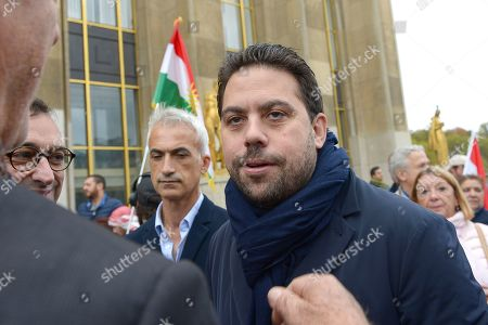 Deputy Mayor of Paris in charge of international relations Patrick Klugman attends a protest, at Human Rights Square in Trocadero, against the offensive launched by the Turkish President, Recep Tayyip Erdogan against Syrian Kurdistan.