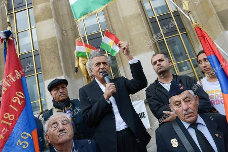 Philospher Bernard-Henri Levy addresses the crowd on Human Rights Square in Trocadero, at a protest against the offensive launched by the Turkish President, Recep Tayyip Erdogan against Syrian Kurdistan.
