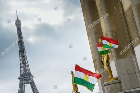 A protest takes place on Human Rights Square in Trocadero, following the offensive launched by the Turkish President, Recep Tayyip Erdogan against Syrian Kurdistan.