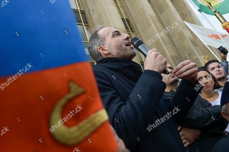 Raphael Glucksmann of Place Publique addresses the crowd on Human Rights Square in Trocadero, at a protest against the offensive launched by the Turkish President, Recep Tayyip Erdogan against Syrian Kurdistan.