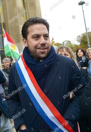 Stock Image of Deputy Mayor of Paris in charge of international relations Patrick Klugman attends a protest, at Human Rights Square in Trocadero, against the offensive launched by the Turkish President, Recep Tayyip Erdogan against Syrian Kurdistan.