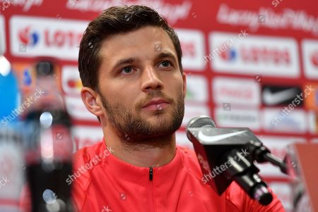 Polish national soccer team player Bartosz Bereszynski attends a press conference in Warsaw, Poland, 12 October 2019. Poland will face North Macedonia in the UEFA EURO 2020 qualifying soccer match on 13 October 2019 in Warsaw.