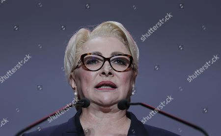 Acting Romanian Prime Minister and president of the ruling Social Democratic Party (PSD), Viorica Dancila, addresses party members during an event held at Romexpo exposition center in Bucharest, Romania, 12 October 2019, three days after her government lost a vote of confidence in parliament. Dancila has been nominated as the PSD's candidate for the 2019 presidential elections, that will be held on 10 November 2019.