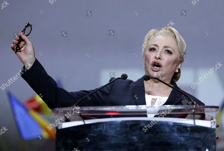 Stock Image of Acting Romanian Prime Minister and president of the ruling Social Democratic Party (PSD), Viorica Dancila, addresses party members during an event held at Romexpo exposition center in Bucharest, Romania, 12 October 2019, three days after her government lost a vote of confidence in parliament. Dancila has been nominated as the PSD's candidate for the 2019 presidential elections, that will be held on 10 November 2019.