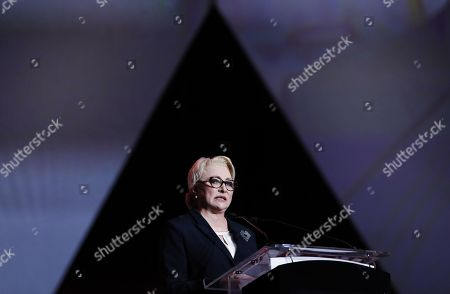 Stock Picture of Acting Romanian Prime Minister and president of the ruling Social Democratic Party (PSD), Viorica Dancila, addresses party members during an event held at Romexpo exposition center in Bucharest, Romania, 12 October 2019, three days after her government lost a vote of confidence in parliament. Dancila has been nominated as the PSD's candidate for the 2019 presidential elections, that will be held on 10 November 2019.