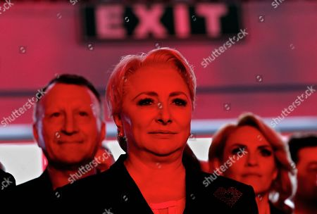 Stock Photo of Acting Romanian Prime Minister and president of the ruling Social Democratic Party (PSD), Viorica Dancila, arrvies during an event held at Romexpo exposition center in Bucharest, Romania, 12 October 2019, three days after her government lost a vote of confidence in parliament. Dancila has been nominated as the PSD's candidate for the 2019 presidential elections, that will be held on 10 November 2019.