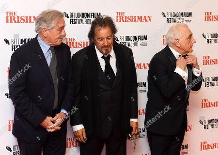 Stock Photo of Robert De Niro, Al Pacino and Martin Scorsese