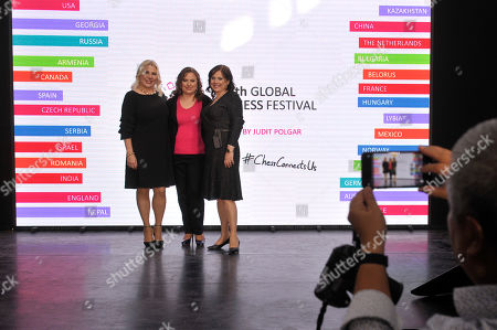 (L-R) Hungarian chess grandmaster Susan Polgar, and her sisters, chess grandmaster Judit Polgar and International Master and Woman Grandmaster Sofia Polgar attend the opening ceremony of the 5th Global World Chess Festival at the Hungarian National Gallery in Budapest, Hungary, 12 October 2019.
