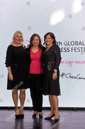 Stock Picture of (L-R) Hungarian chess grandmaster Susan Polgar, and her sisters, chess grandmaster Judit Polgar and International Master and Woman Grandmaster Sofia Polgar attend the opening ceremony of the 5th Global World Chess Festival at the Hungarian National Gallery in Budapest, Hungary, 12 October 2019.