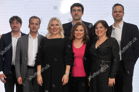 Stock Photo of (L-R) Laszlo Szabo, President of the Hungarian Chess Federation, Arkady Dvorkovich, President of the International Chess Federation (FIDE), Hungarian chess grandmaster Susan Polgar, Russian chess grandmaster Vladimir Kramnik, Hungarian chess grandmaster Judit Polgar, International Master and Woman Grandmaster Sofia Polgar and Norbert Fogarasi, head of the Morgan Stanley Budapest Office attend the opening ceremony of the 5th Global World Chess Festival at the Hungarian National Gallery in Budapest, Hungary, 12 October 2019.