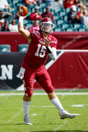 Temple quarterback Anthony Russo (15) throws a pass during an NCAA college football, in Philadelphia