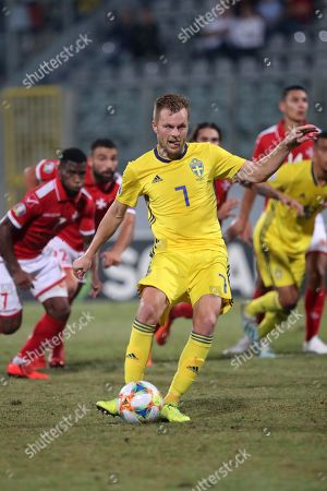Sweden's Sebastian Larsson (7) scores a penalty during the UEFA EURO 2020 Group F qualifiers match between Malta and Sweden at the National Stadium, Ta' Qali, Malta on 12 October 2019.
