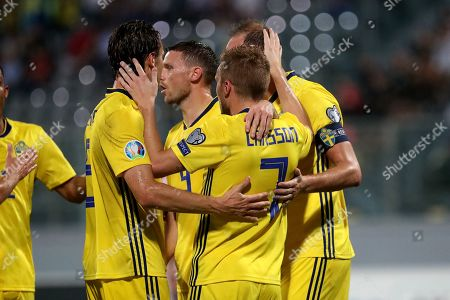 Sweden's Sebastian Larsson (7) celebrates scoring a penalty during the UEFA EURO 2020 Group F qualifiers match between Malta and Sweden at the National Stadium, Ta' Qali, Malta on 12 October 2019.