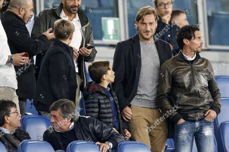 Italian former soccer player and AS Roma legend Francesco Totti (2-R) during the UEFA Euro 2020 group J qualifying soccer match between Italy and Greece at the Olimpico stadium in Rome, Italy, 12 October 2019.