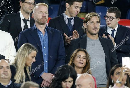 Italian former soccer player and AS Roma legend Francesco Totti (R) and Igli Tare (L),  sporting director at Serie A club Lazio during the UEFA Euro 2020 group J qualifying soccer match between Italy and Greece at the Olimpico stadium in Rome, Italy, 12 October 2019.
