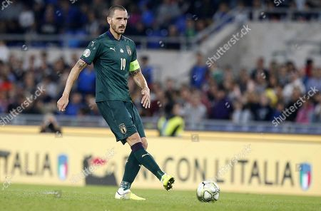 Italy's captain Leonardo Bonucci in action during the UEFA Euro 2020 group J qualifying soccer match between Italy and Greece at the Olimpico stadium in Rome, Italy, 12 October 2019.