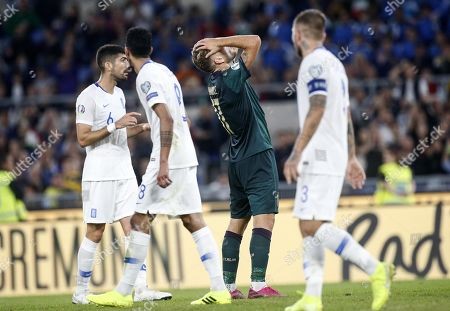 Italy's Ciro Immobile (C) reacts during the UEFA Euro 2020 group J qualifying soccer match between Italy and Greece at the Olimpico stadium in Rome, Italy, 12 October 2019.