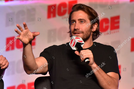 Jake Gyllenhaal participates during a Q&A panel on day two at the Ace Comic-Con at the Donald E. Stephens Convention Center, in Rosemont, Ill