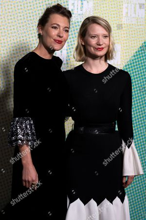 Mirrah Foulkes (L) and Australian actress/cast member Mia Wasikowska (R) arrive to the premiere of the movie 'Judy and Punch' at the 2019 BFI London Film Festival, in London, Britain, 12 October 2019. The British Film Institute festival runs from 02 to 13 October.