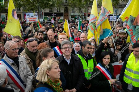 Jean-Luc Melenchon. Thousands of demonstrators gathered at the Republique Square in support of the Kurdish people of Syria whose semi-autonomous territory of Rojava has been under attack by Turkey for several days.