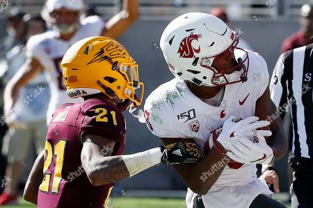 Washington State wide receiver Easop Winston Jr., right, makes a touchdown catch against Arizona State defensive back Jack Jones (21) during the second half of an NCAA college football game, in Tempe, Ariz