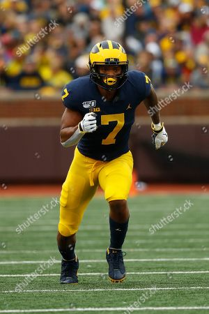 Michigan wide receiver Tarik Black runs a route against Rutgers in the first half of an NCAA college football game in Ann Arbor, Mich