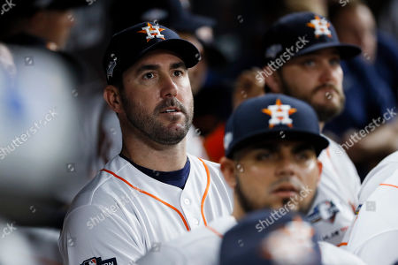 Houston Astros starting pitcher Justin Verlander waits for the start of Game 1 of baseball's American League Championship Series against the New York Yankees, in Houston