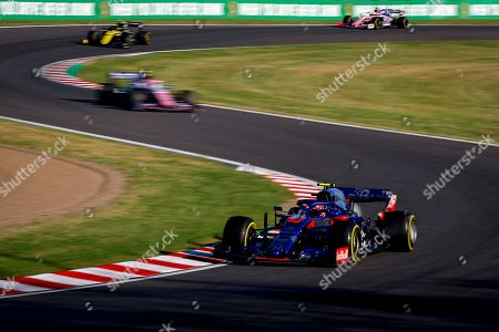 French Formula One driver Pierre Gasly (front) of Scuderia Toro Rosso in action during the Japanese Formula One Grand Prix in Suzuka, Japan, 13 October 2019.