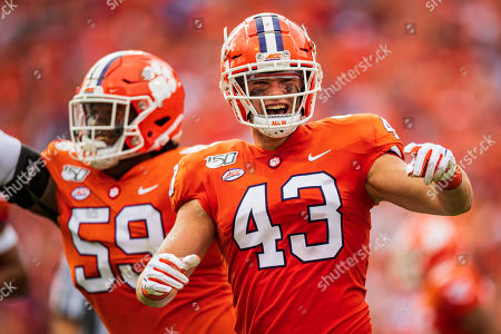Stock Photo of Clemson Tigers linebacker Chad Smith (43) during the NCAA college football game between Florida State University and Clemson on at Memorial Stadium in Clemson, SC