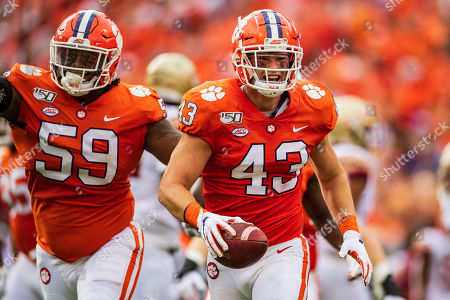Stock Image of Clemson Tigers linebacker Chad Smith (43) during the NCAA college football game between Florida State University and Clemson on at Memorial Stadium in Clemson, SC