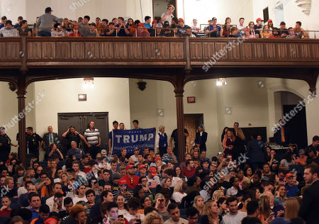 Audience members are seen at the University of Florida as Donald Trump, Jr. and his girlfriend, Kimberly Guilfoyle, address a capacity crowd of about 850 students in what was billed as a keynote presentation.