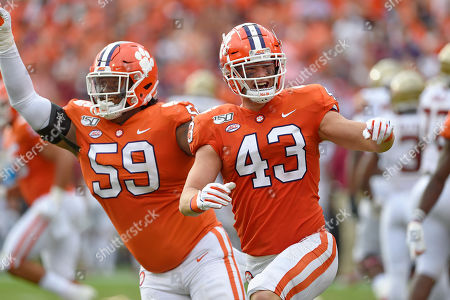 Chad Smith, Jordan Williams. Clemson's Chad Smith (43) and Jordan Williams celebrate after recovering a fumble during the first half of an NCAA college football game against Florida State, in Clemson, S.C