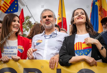 Lorena Roldan, Carlos Carrizosa and Ines Arrimadas Garcia, national and regional leaders of the Ciudadanos party take part during the demonstration in favour of uniting Spain