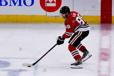 Chicago Blackhawks right wing Patrick Kane (88) during the third period of an NHL hockey game against the Winnipeg Jets, in Chicago