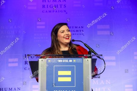 Artist Mary Lambert speaks at the Human Rights Campaign Twin Cities Dinner and Auction on in Minneapolis