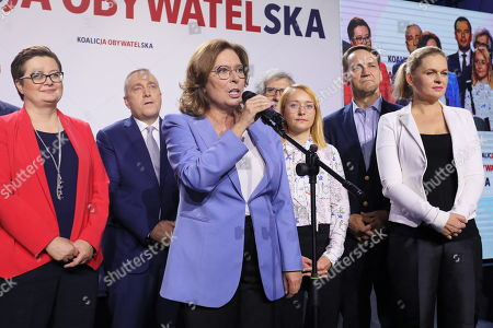 (L-R) Katarzyna Lubnauer, Grzegorz Schetyna, Malgorzata Kidawa-Blonska, Malgorzata Tracz, Radoslaw Sikorski and Barbara Nowacka react during the Civic Coalition (KO) parliamentary elections night in Warsaw, Poland, 13 October 2019. An average of eleven candidates are running for each Sejm (lower house) seat in the national elections. In total, 5,114 people are running for 460 seats. Two hundred and seventy-eight people are running for the Senate (upper house), three candidatures for each seat. Five electoral committees were registered in all 41 constituencies, namely, the ruling Law and Justice (PiS) party, Poland's main opposition bloc the Civic Coalition (KO), the Polish People's Party (PSL) with the Kukiz'15 party, the Confederation Freedom and Independence and the Left (Lewica) bloc comprising liberal and left-wing parties the Democratic Left Alliance (SLD), Spring and Together.