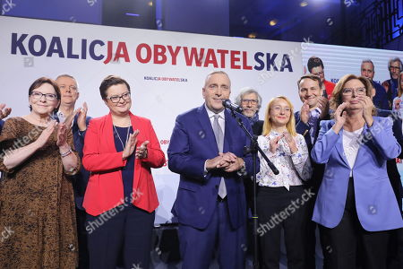 (L-R) Ewa Kopacz, Katarzyna Lubnauer, Grzegorz Schetyna, Malgorzata Tracz and Malgorzata Kidawa-Blonska react during the Civic Coalition (KO) parliamentary elections night in Warsaw, Poland, 13 October 2019. An average of eleven candidates are running for each Sejm (lower house) seat in the national elections. In total, 5,114 people are running for 460 seats. Two hundred and seventy-eight people are running for the Senate (upper house), three candidatures for each seat. Five electoral committees were registered in all 41 constituencies, namely, the ruling Law and Justice (PiS) party, Poland's main opposition bloc the Civic Coalition (KO), the Polish People's Party (PSL) with the Kukiz'15 party, the Confederation Freedom and Independence and the Left (Lewica) bloc comprising liberal and left-wing parties the Democratic Left Alliance (SLD), Spring and Together.