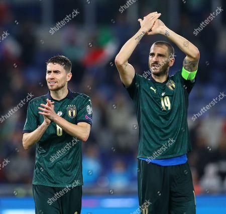 Jorginho and Leonardo Bonucci of Italy celebrate