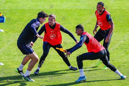 England forward Marcus Rashford England defender Harry Maguire  England midfielder Jordan Henderson and England forward Callum Wilson during the England training session at Stadion Evzena, Prague