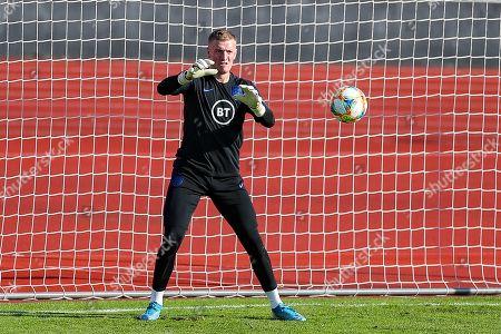 England goalkeeper Jordan Pickford during the England training session at Stadion Evzena, Prague