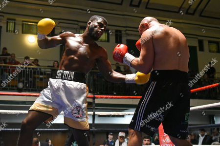 Tashan Dwyer (white shorts) defeats Robert Studzinski during a Boxing Show at York Hall on 12th October 2019
