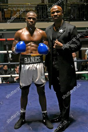 Nathanael Wilson (blue gloves) with Chris Eubank Snr after defeating Rhys Saunders during a Boxing Show at York Hall on 12th October 2019