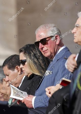 Britain's Charles, Prince Charles during the canonization Mass of five new Saints in St. Peters Square at the Vatican, 13 October 2019. Five new Saints are canonized at the Vatican on 13 October 2019, namely Brazilian Sister Dulce Lopes Pontes, Swiss Franciscan tertiary Marguerite Bays, Sister Giuseppina Vannini, India's Mother Mariam Thresia Mankidiyan, and British Cardinal John W. Henry Newman.