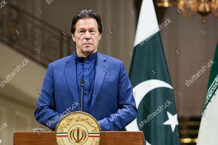 A handout photo made available by the presidential office shows Pakistani Prime Minister Imran Khan during a joint press conference at presidential palace in Tehran, Iran, 13 October 2019. Media reported that Imran Khan is in Tehran to meet with Iranian officials.