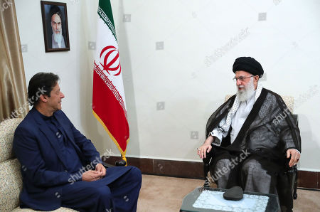 Stock Picture of A handout photo made available by the supreme leader office shows Iranian Supreme leader Ayatollah Ali Khamenei meeting with Pakistani Prime Minister Imran Khan (L) in Tehran, Iran, 13 October 2019. Media reported that Imran Khan is in Tehran to meet with Iranian officials.