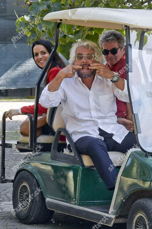 Co-founder of Five-Star movement (M5S), Beppe Grillo gestures to photographers as he arrives at the event to celebrate 10 years since the foundation of the 5-star Movement, in Naples, Italy, 13 October 2019. The Italian movement party organises a citizens' festival as part of their 10th anniversary celebrations and announces a new 'proposal for the country' and a restructuring of the party.