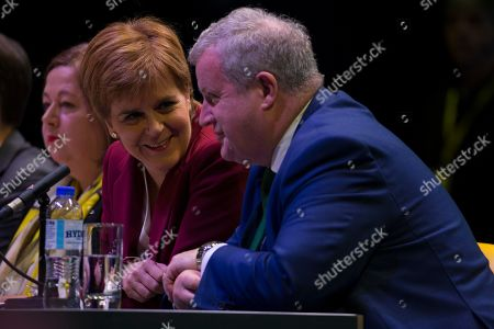 Stock Picture of Kirsten Oswald, SNP Business Convener, Nicola Sturgeon, First Minister of Scotland and Leader of the Scottish National Party (SNP), and Ian Blackford, SNP Westminster leader