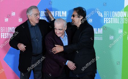 Robert DeNiro, US film director Martin Scorsese and US actor and cast member Al Pacino pose at the photocall for the film premier of 'The Irishman' during the BFI London Film Festival, in London, Britain, 13 October 2019. The British Film Institute festival runs from 02 to 13 October.